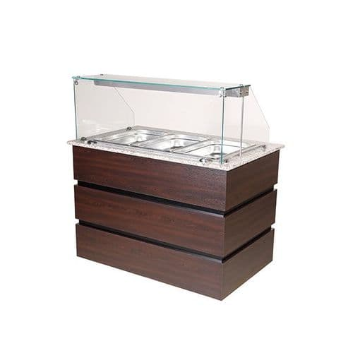 Blizzard Flat Glass Heated Display Counter 3X GN1/1 - BHD1250